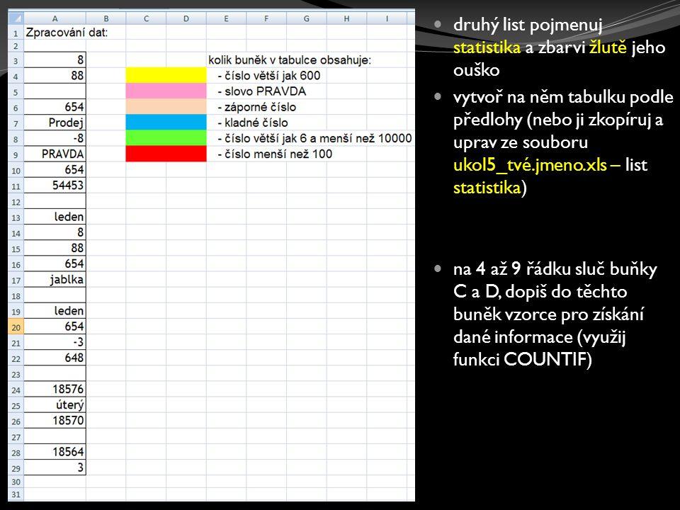 třetí list pojmenuj funkce a zbarvi červeně jeho ouško vytvoř na něm tabulku podle předlohy zbarvená políčka tabulky vyplň vzorcemi (funkcemi) nápověda je vždy u daného sloupečku nebo buňky uvedena ve žlutém rámečku