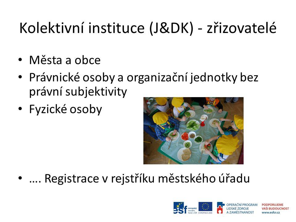 Kolektivní instituce (J&DK) - zřizovatelé Města a obce Právnické osoby a organizační jednotky bez právní subjektivity Fyzické osoby ….