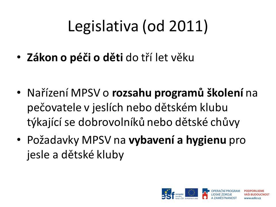Legislativa (od 2011) Zákon o péči o děti do tří let věku Nařízení MPSV o rozsahu programů školení na pečovatele v jeslích nebo dětském klubu týkající se dobrovolníků nebo dětské chůvy Požadavky MPSV na vybavení a hygienu pro jesle a dětské kluby