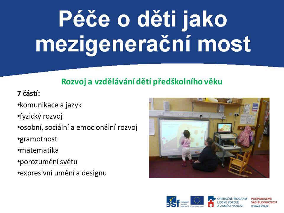 Rozvoj a vzdělávání dětí předškolního věku 7 částí: komunikace a jazyk fyzický rozvoj osobní, sociální a emocionální rozvoj gramotnost matematika porozumění světu expresivní umění a designu