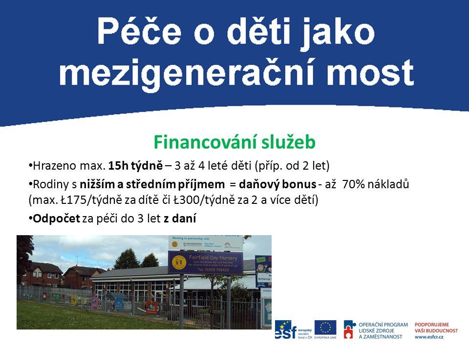 Financování služeb Hrazeno max. 15h týdně – 3 až 4 leté děti (příp.