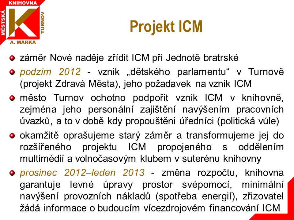"""Projekt ICM záměr Nové naděje zřídit ICM při Jednotě bratrské podzim 2012 - vznik """"dětského parlamentu v Turnově (projekt Zdravá Města), jeho požadavek na vznik ICM město Turnov ochotno podpořit vznik ICM v knihovně, zejména jeho personální zajištění navýšením pracovních úvazků, a to v době kdy propouštěni úředníci (politická vůle) okamžitě oprašujeme starý záměr a transformujeme jej do rozšířeného projektu ICM propojeného s oddělením multimédií a volnočasovým klubem v suterénu knihovny prosinec 2012–leden 2013 - změna rozpočtu, knihovna garantuje levné úpravy prostor svépomocí, minimální navýšení provozních nákladů (spotřeba energií), zřizovatel žádá informace o budoucím vícezdrojovém financování ICM"""