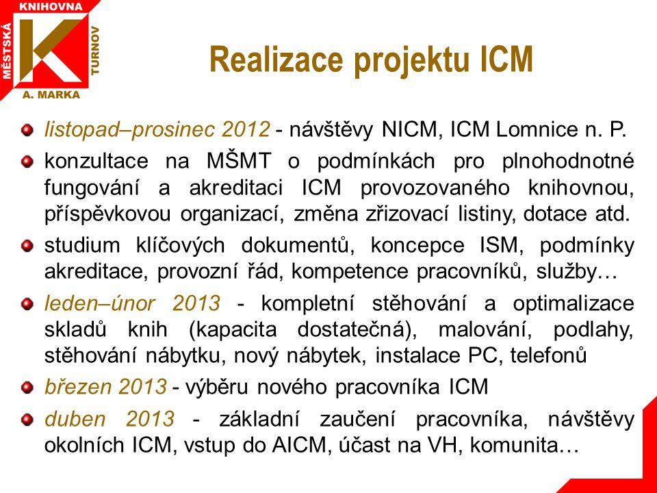 Realizace projektu ICM listopad–prosinec 2012 - návštěvy NICM, ICM Lomnice n.