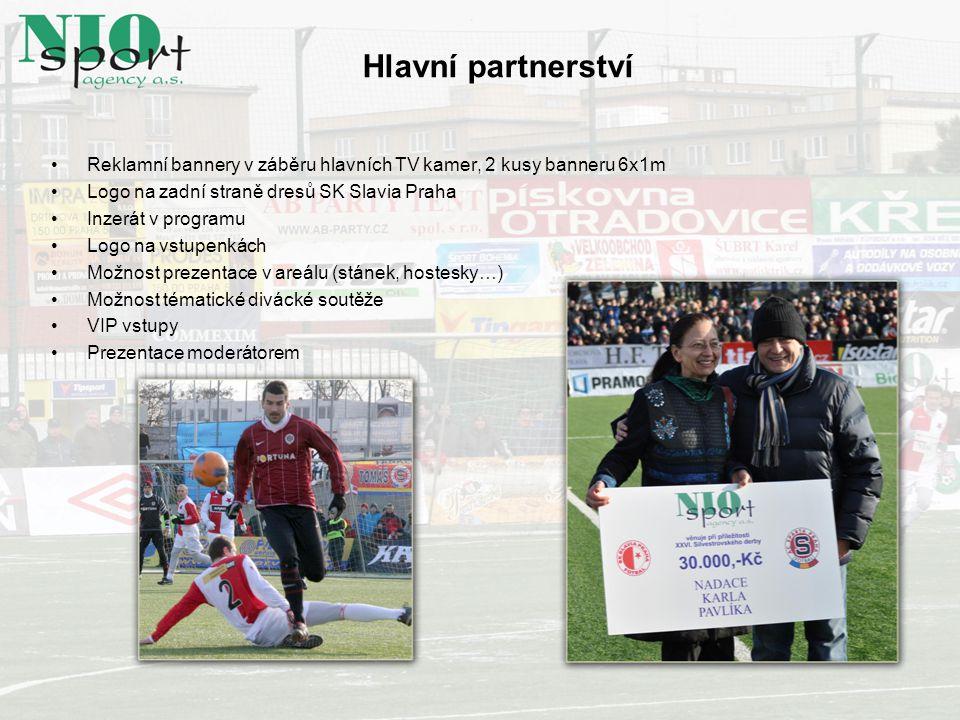 Reklamní bannery v záběru hlavních TV kamer, 2 kusy banneru 6x1m Logo na zadní straně dresů SK Slavia Praha Inzerát v programu Logo na vstupenkách Mož