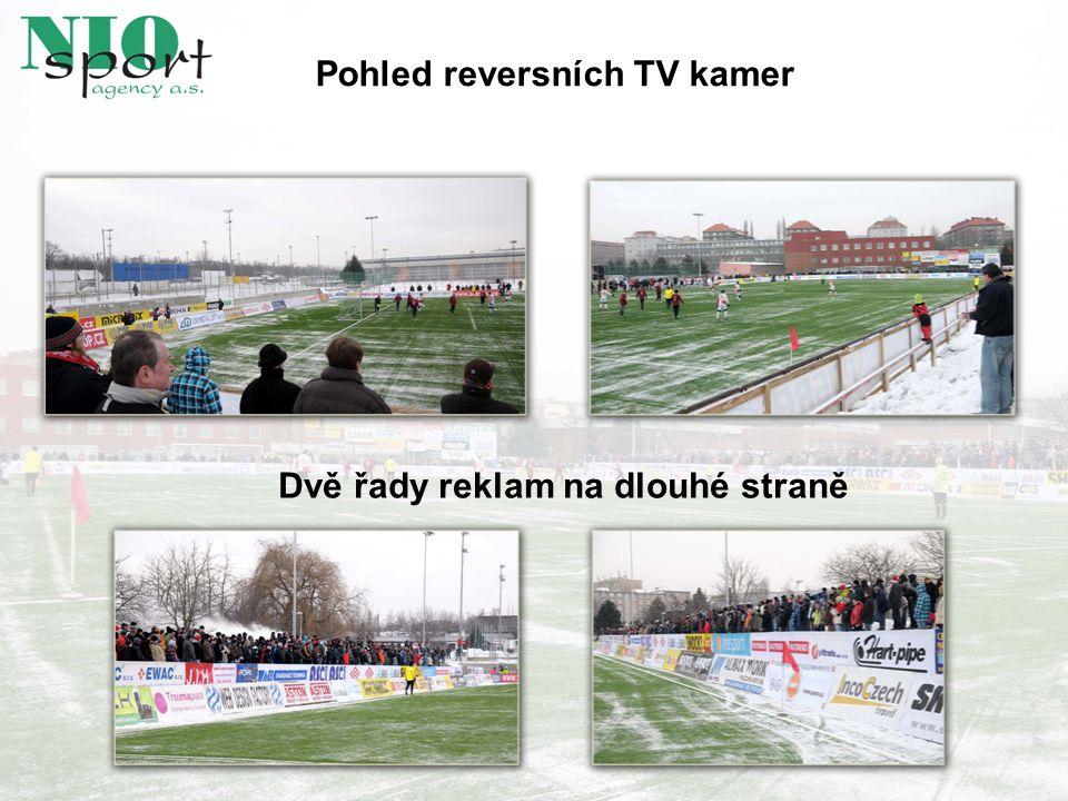 Pohled reversních TV kamer Dvě řady reklam na dlouhé straně