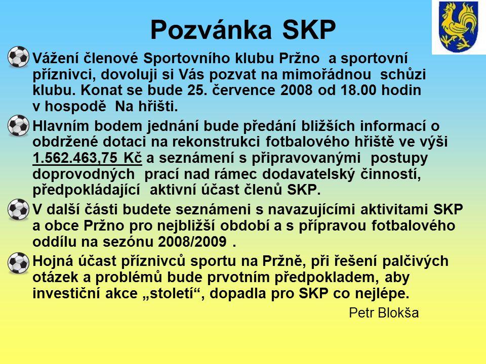 Pozvánka SKP Vážení členové Sportovního klubu Pržno a sportovní příznivci, dovoluji si Vás pozvat na mimořádnou schůzi klubu. Konat se bude 25. červen