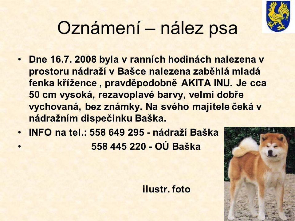 Oznámení – nález psa Dne 16.7. 2008 byla v ranních hodinách nalezena v prostoru nádraží v Bašce nalezena zaběhlá mladá fenka křížence, pravděpodobně A