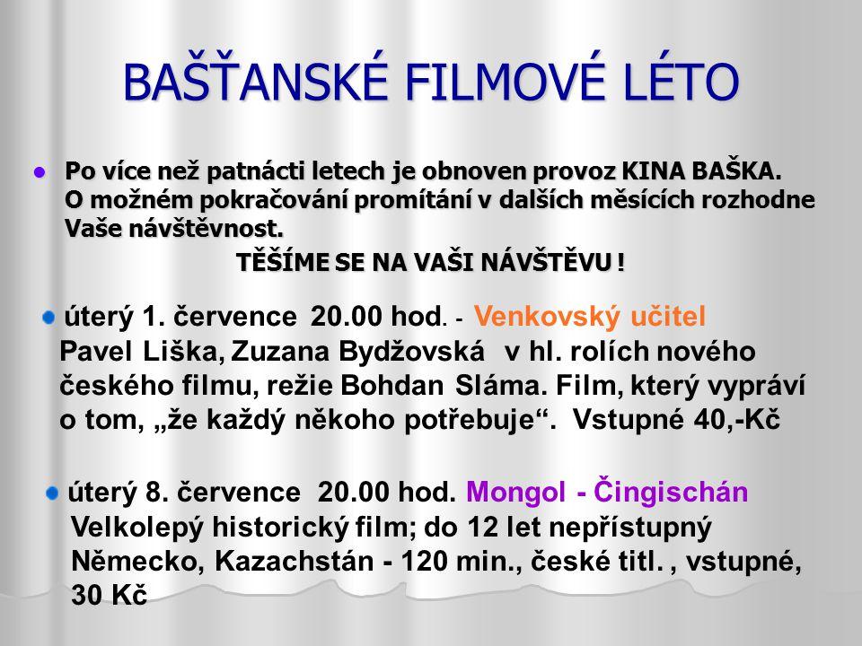 BAŠŤANSKÉ FILMOVÉ LÉTO Po více než patnácti letech je obnoven provoz KINA BAŠKA.