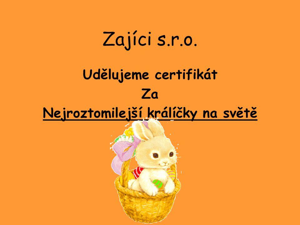 Zajíci s.r.o. Udělujeme certifikát Za Nejroztomilejší králíčky na světě