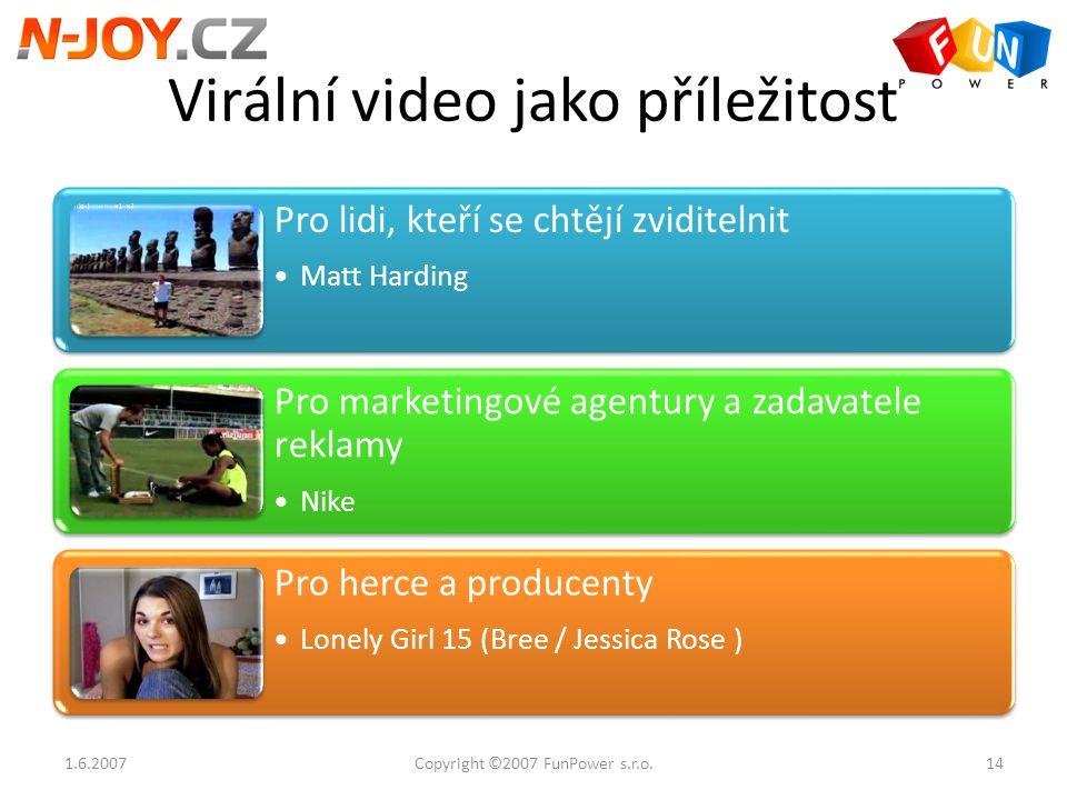 Virální video jako příležitost Pro lidi, kteří se chtějí zviditelnit Matt Harding Pro marketingové agentury a zadavatele reklamy Nike Pro herce a prod