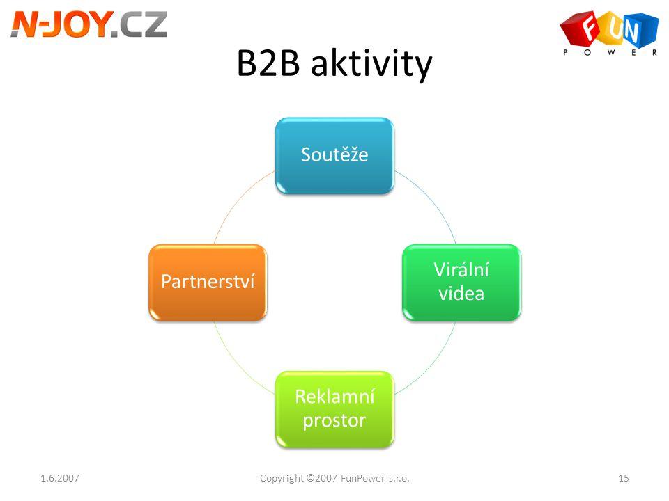 B2B aktivity Soutěže Virální videa Reklamní prostor Partnerství 1.6.200715Copyright ©2007 FunPower s.r.o.