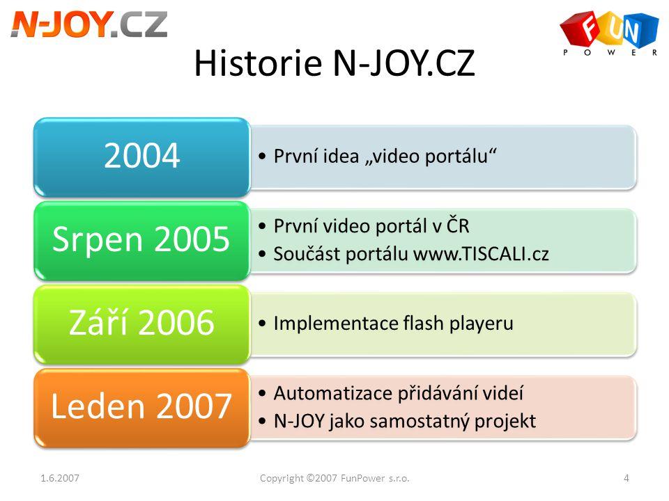 """Historie N-JOY.CZ První idea """"video portálu"""" 2004 První video portál v ČR Součást portálu www.TISCALI.cz Srpen 2005 Implementace flash playeru Září 20"""