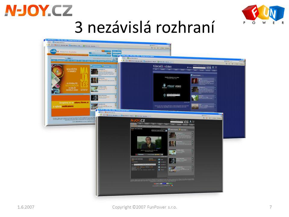 3 nezávislá rozhraní 1.6.20077Copyright ©2007 FunPower s.r.o.