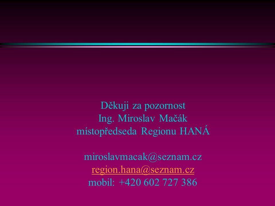 Děkuji za pozornost Ing. Miroslav Mačák místopředseda Regionu HANÁ miroslavmacak@seznam.cz region.hana@seznam.cz mobil: +420 602 727 386 region.hana@s