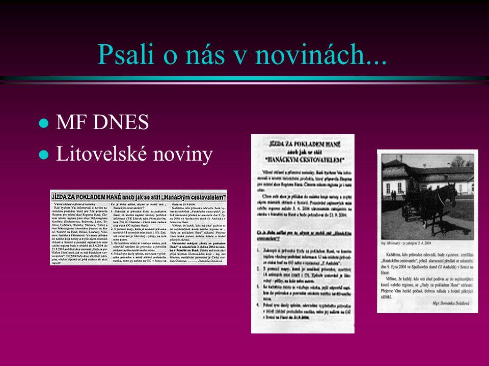 Psali o nás v novinách... l MF DNES l Litovelské noviny
