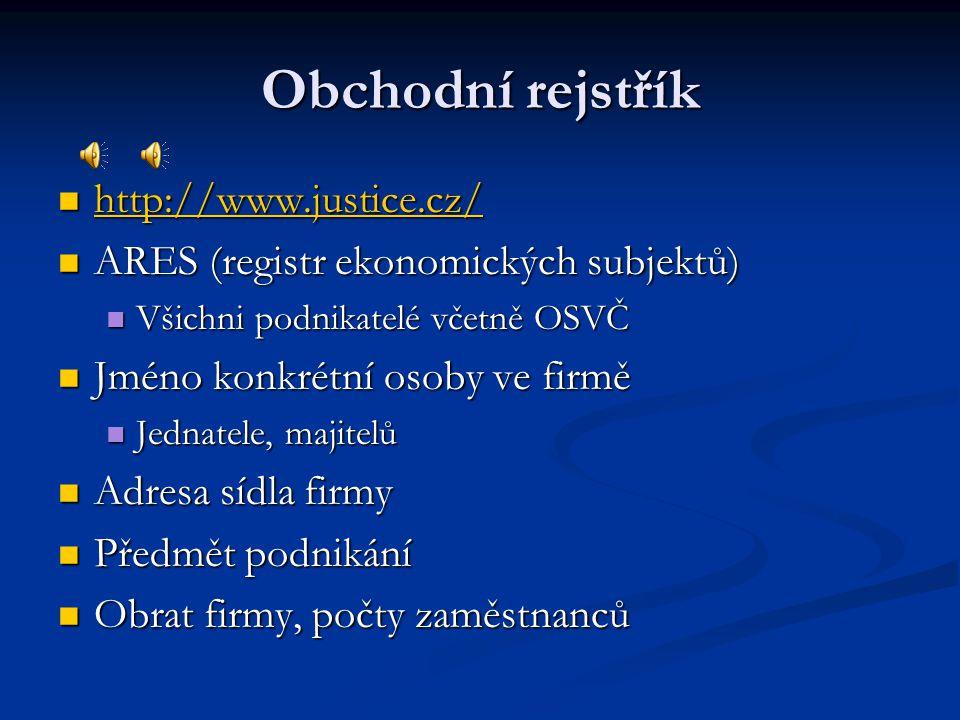 Obchodní rejstřík http://www.justice.cz/ http://www.justice.cz/ http://www.justice.cz/ ARES (registr ekonomických subjektů) ARES (registr ekonomických subjektů) Všichni podnikatelé včetně OSVČ Všichni podnikatelé včetně OSVČ Jméno konkrétní osoby ve firmě Jméno konkrétní osoby ve firmě Jednatele, majitelů Jednatele, majitelů Adresa sídla firmy Adresa sídla firmy Předmět podnikání Předmět podnikání Obrat firmy, počty zaměstnanců Obrat firmy, počty zaměstnanců