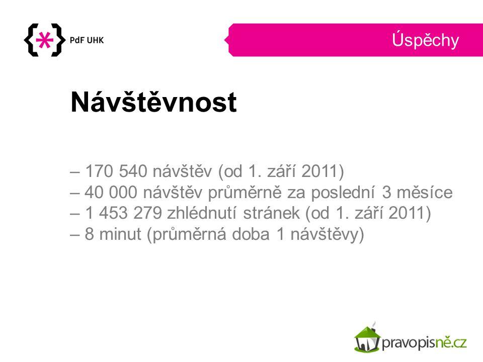 Úspěchy Návštěvnost – 170 540 návštěv (od 1. září 2011) – 40 000 návštěv průměrně za poslední 3 měsíce – 1 453 279 zhlédnutí stránek (od 1. září 2011)