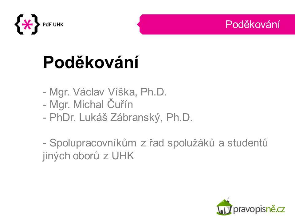 - Mgr. Václav Víška, Ph.D. - Mgr. Michal Čuřín - PhDr. Lukáš Zábranský, Ph.D. - Spolupracovníkům z řad spolužáků a studentů jiných oborů z UHK