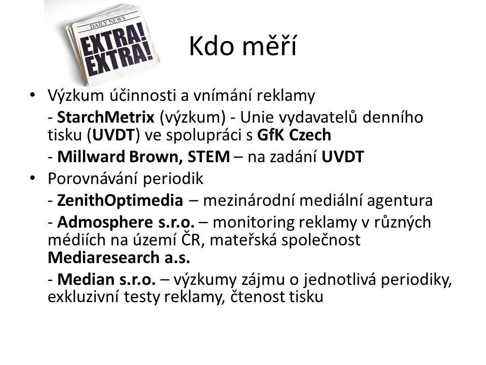 Kdo měří Výzkum účinnosti a vnímání reklamy - StarchMetrix (výzkum) - Unie vydavatelů denního tisku (UVDT) ve spolupráci s GfK Czech - Millward Brown, STEM – na zadání UVDT Porovnávání periodik - ZenithOptimedia – mezinárodní mediální agentura - Admosphere s.r.o.