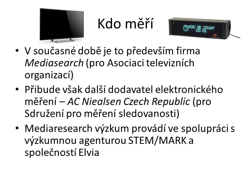 Kdo měří V současné době je to především firma Mediasearch (pro Asociaci televizních organizací) Přibude však další dodavatel elektronického měření – AC Niealsen Czech Republic (pro Sdružení pro měření sledovanosti) Mediaresearch výzkum provádí ve spolupráci s výzkumnou agenturou STEM/MARK a společností Elvia