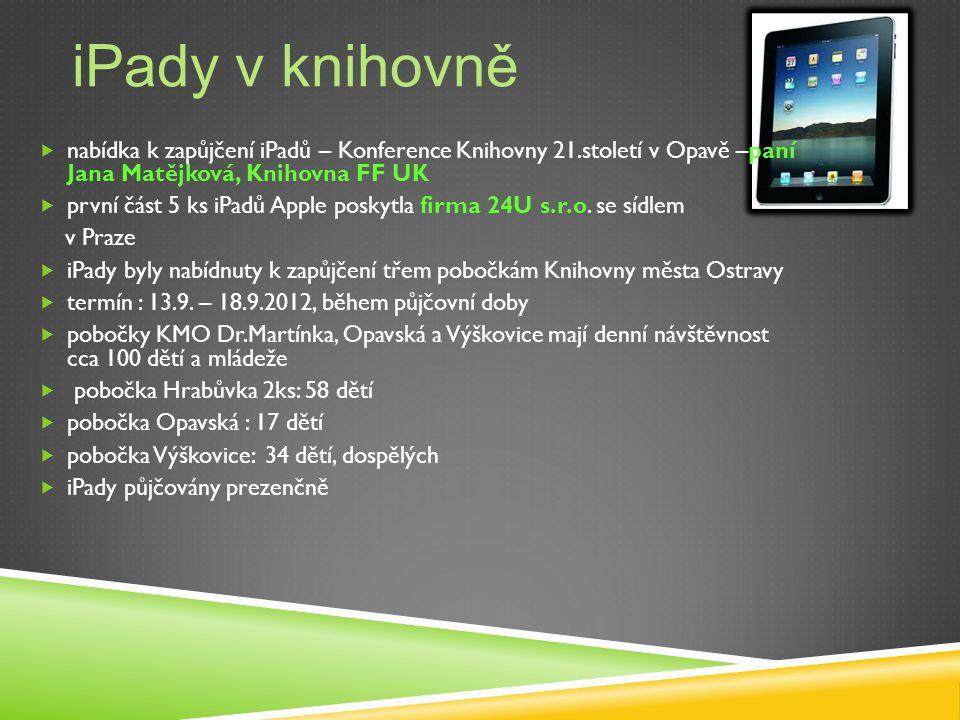 iPady v knihovně  nabídka k zapůjčení iPadů – Konference Knihovny 21.století v Opavě –paní Jana Matějková, Knihovna FF UK  první část 5 ks iPadů Apple poskytla firma 24U s.r.o.