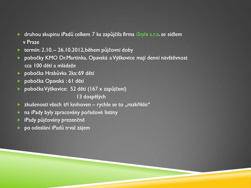  druhou skupinu iPadů celkem 7 ks zapůjčila firma iStyle s.r.o. se sídlem v Praze  termín: 2.10. – 26.10.2012, během půjčovní doby  pobočky KMO Dr.