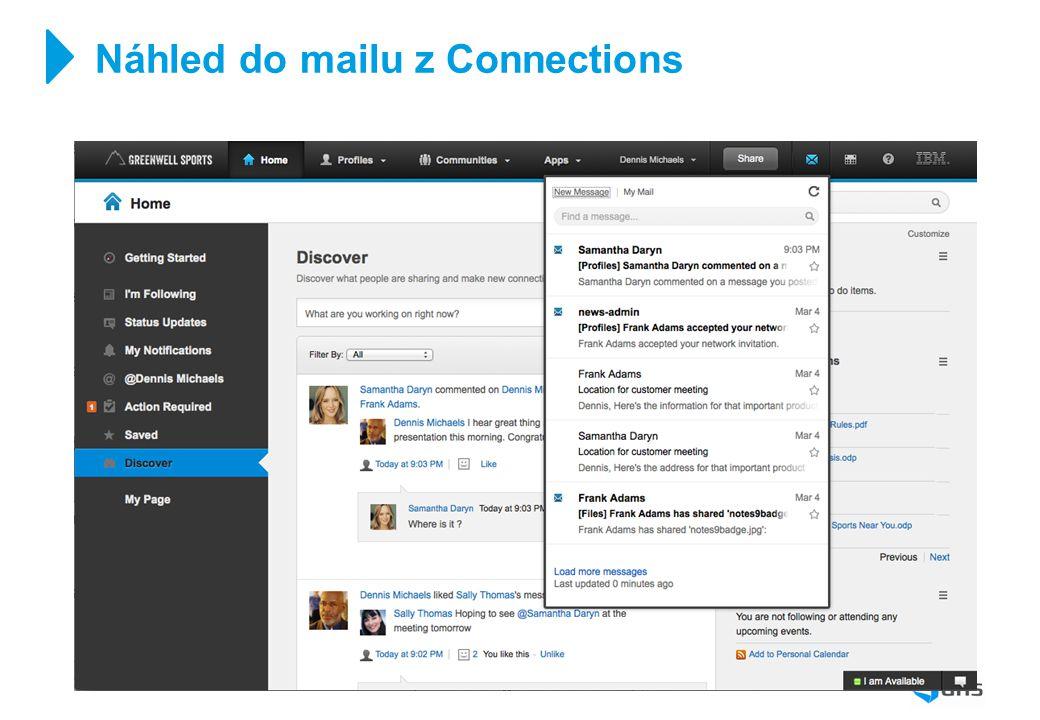 Náhled do mailu z Connections