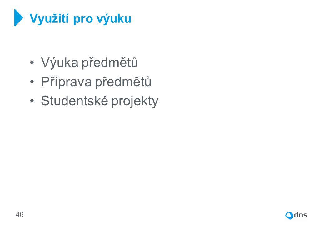 Výuka předmětů Příprava předmětů Studentské projekty Využití pro výuku 46