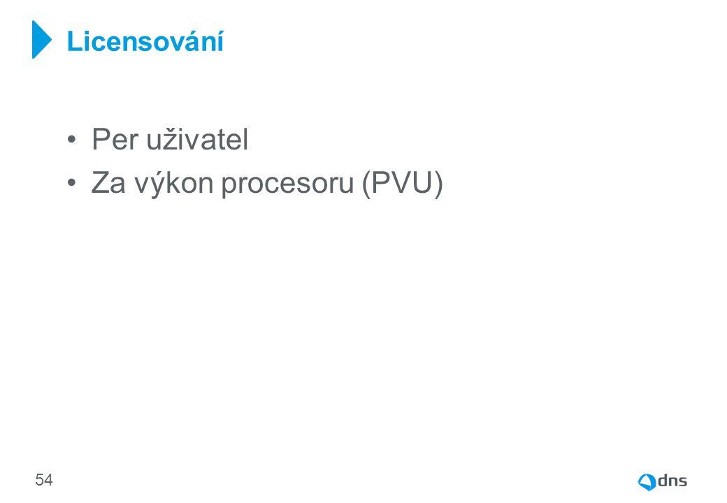 Per uživatel Za výkon procesoru (PVU) Licensování 54