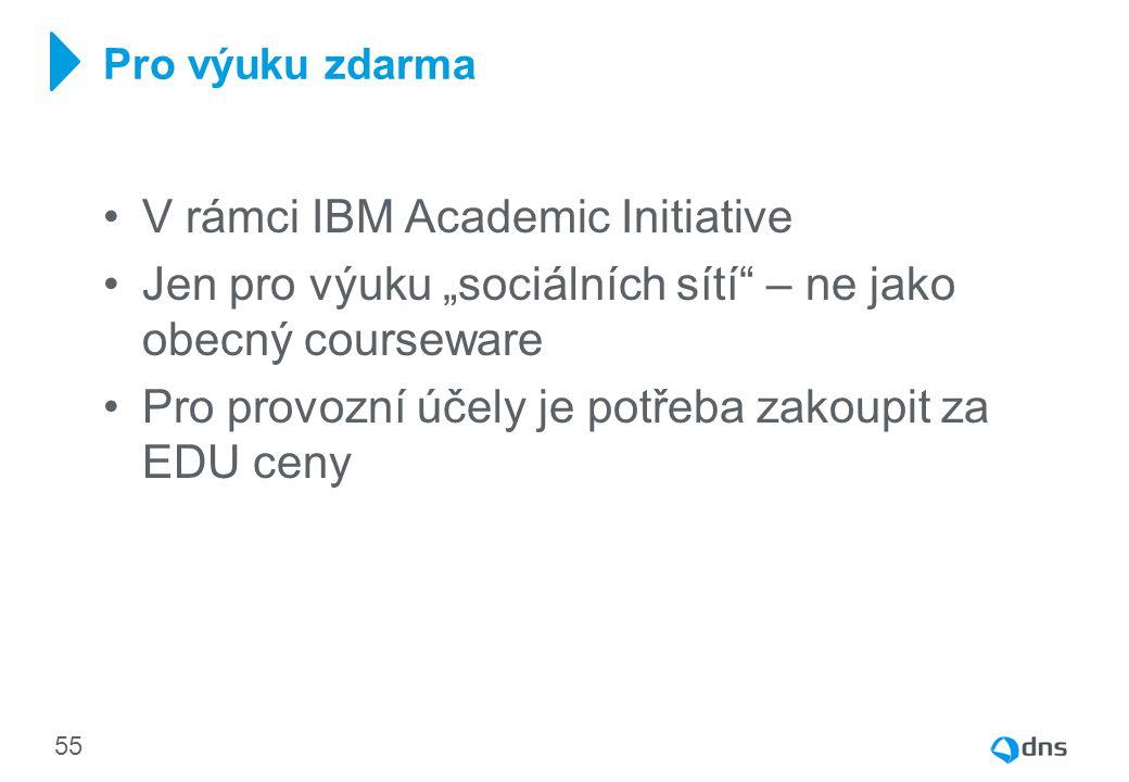 """V rámci IBM Academic Initiative Jen pro výuku """"sociálních sítí"""" – ne jako obecný courseware Pro provozní účely je potřeba zakoupit za EDU ceny Pro výu"""