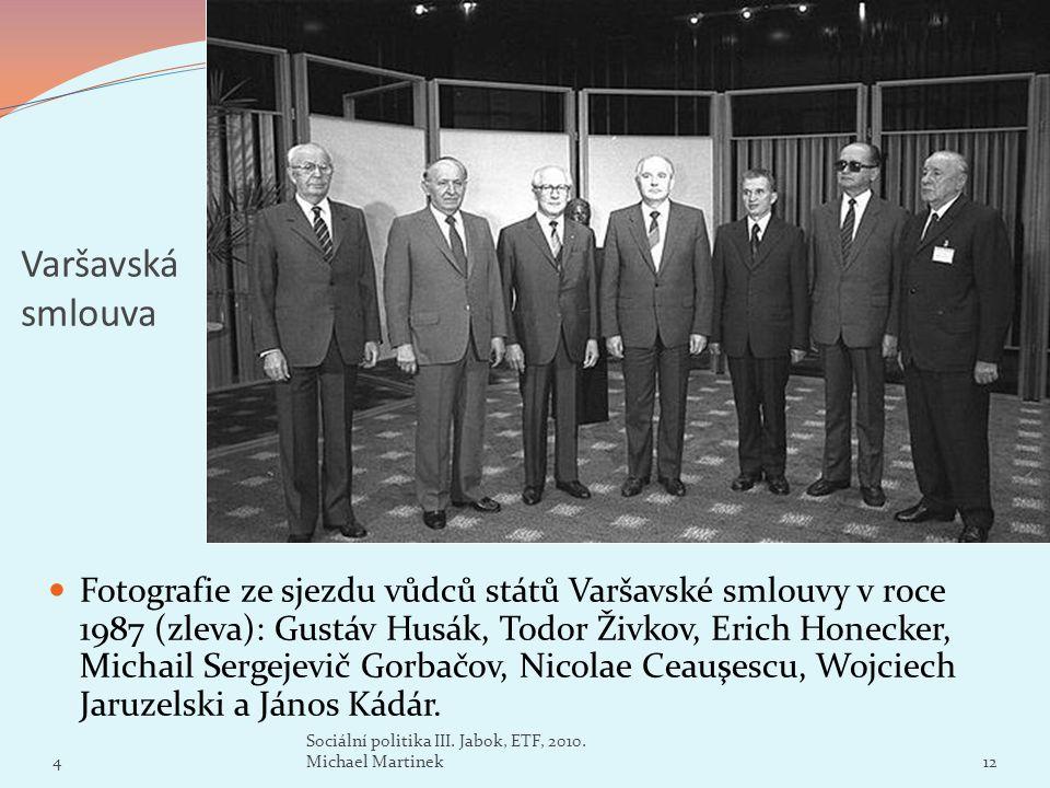 Varšavská smlouva Fotografie ze sjezdu vůdců států Varšavské smlouvy v roce 1987 (zleva): Gustáv Husák, Todor Živkov, Erich Honecker, Michail Sergejev