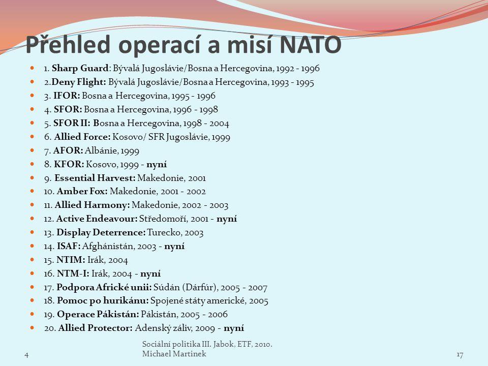 Přehled operací a misí NATO 1. Sharp Guard: Bývalá Jugoslávie/Bosna a Hercegovina, 1992 - 1996 2.Deny Flight: Bývalá Jugoslávie/Bosna a Hercegovina, 1