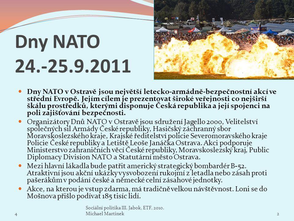Dny NATO 24.-25.9.2011 Dny NATO v Ostravě jsou největší letecko-armádně-bezpečnostní akcí ve střední Evropě. Jejím cílem je prezentovat široké veřejno