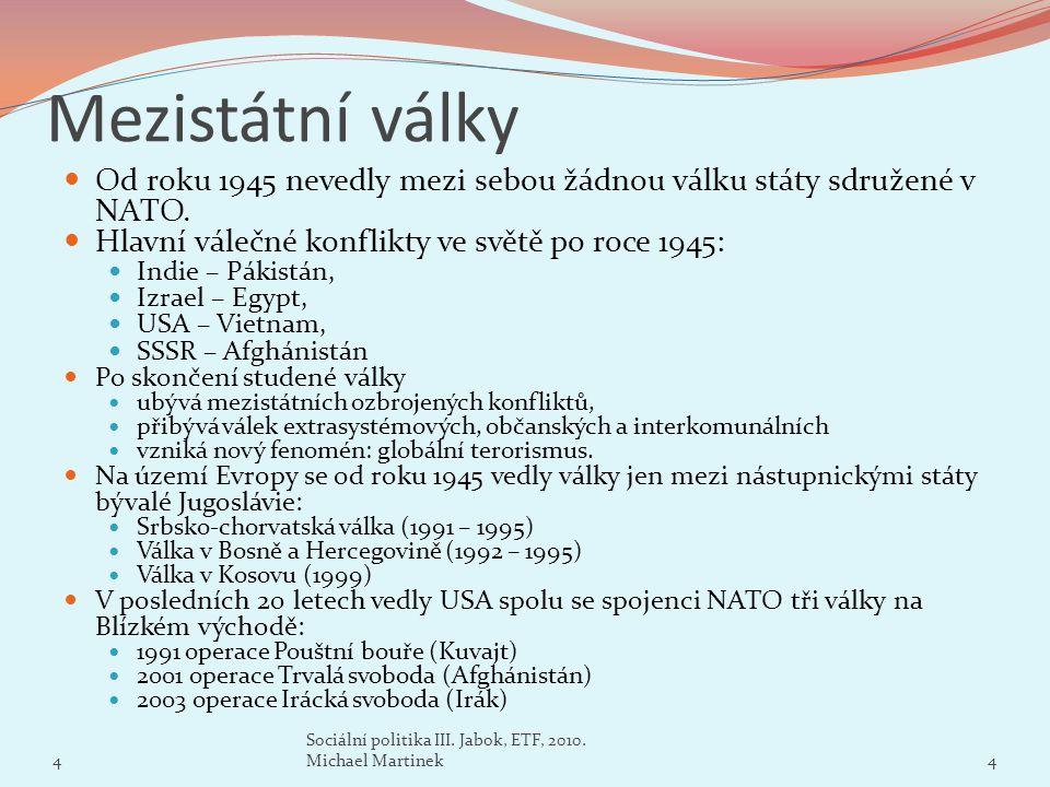 Mezistátní války Od roku 1945 nevedly mezi sebou žádnou válku státy sdružené v NATO. Hlavní válečné konflikty ve světě po roce 1945: Indie – Pákistán,