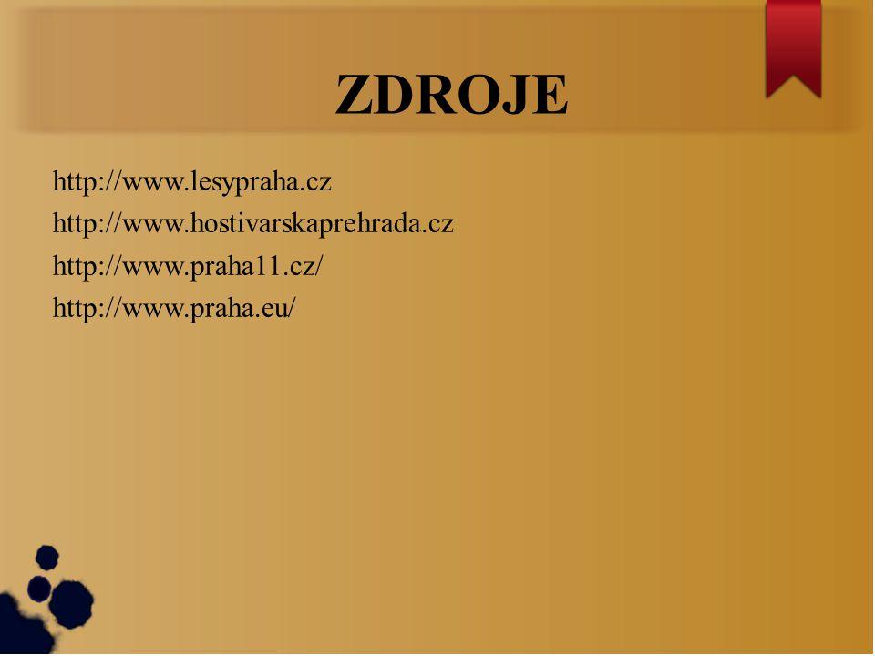 ZDROJE http://www.lesypraha.cz http://www.hostivarskaprehrada.cz http://www.praha11.cz/ http://www.praha.eu/