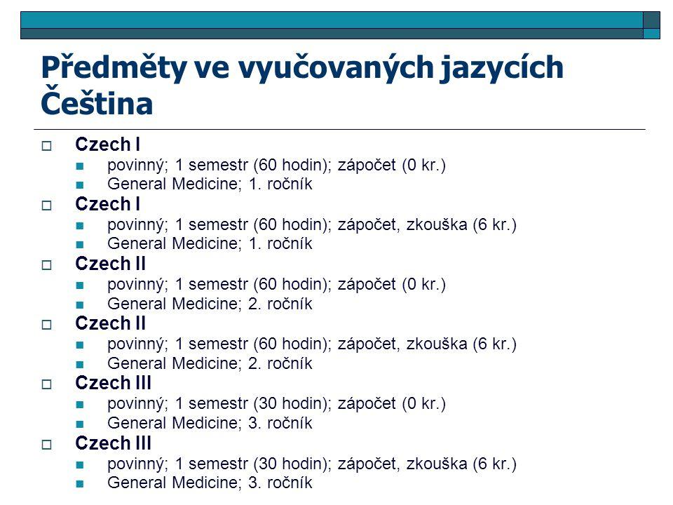 Předměty ve vyučovaných jazycích Čeština  Czech I povinný; 1 semestr (60 hodin); zápočet (0 kr.) General Medicine; 1. ročník  Czech I povinný; 1 sem