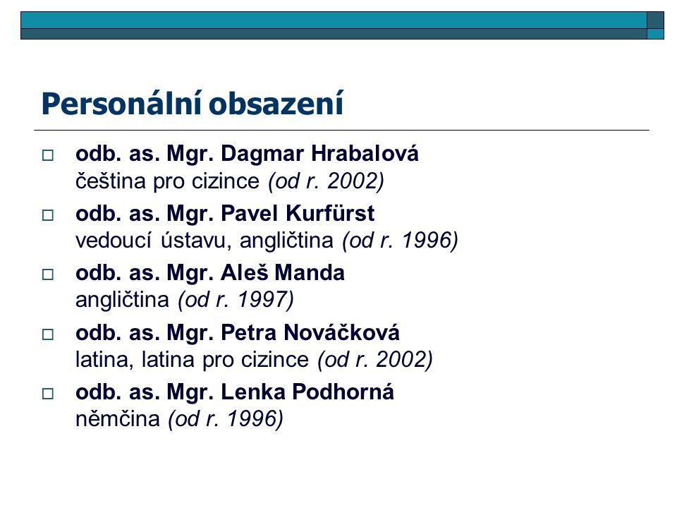 Personální obsazení  odb. as. Mgr. Dagmar Hrabalová čeština pro cizince (od r. 2002)  odb. as. Mgr. Pavel Kurfürst vedoucí ústavu, angličtina (od r.