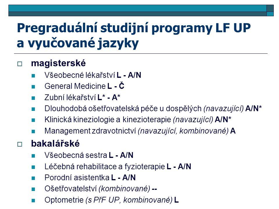 Pregraduální studijní programy LF UP a vyučované jazyky  magisterské Všeobecné lékařství L - A/N General Medicine L - Č Zubní lékařství L* - A* Dlouhodobá ošetřovatelská péče u dospělých (navazující) A/N* Klinická kineziologie a kinezioterapie (navazující) A/N* Management zdravotnictví (navazující, kombinované) A  bakalářské Všeobecná sestra L - A/N Léčebná rehabilitace a fyzioterapie L - A/N Porodní asistentka L - A/N Ošetřovatelství (kombinované) -- Optometrie (s PřF UP, kombinované) L