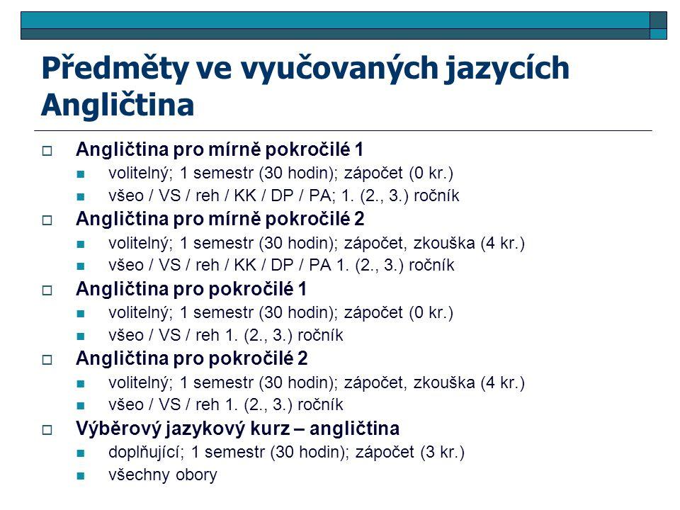 Předměty ve vyučovaných jazycích Angličtina  Angličtina pro mírně pokročilé 1 volitelný; 1 semestr (30 hodin); zápočet (0 kr.) všeo / VS / reh / KK / DP / PA; 1.