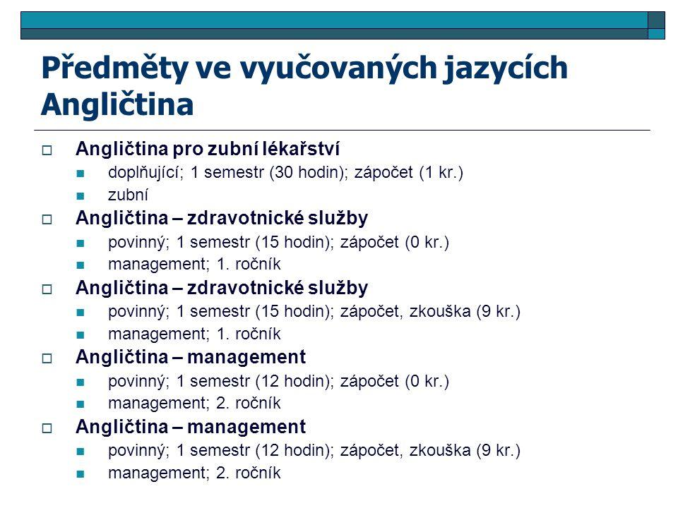 Předměty ve vyučovaných jazycích Angličtina  Angličtina pro zubní lékařství doplňující; 1 semestr (30 hodin); zápočet (1 kr.) zubní  Angličtina – zd