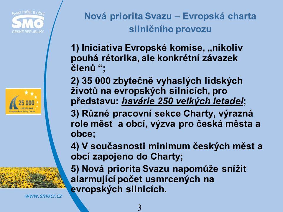 """3 Nová priorita Svazu – Evropská charta silničního provozu 1) Iniciativa Evropské komise, """"nikoliv pouhá rétorika, ale konkrétní závazek členů """"; 2) 3"""