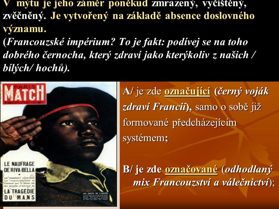 A/ je zde označující (černý voják zdraví Francii), samo o sobě již formované předcházejícím systémem; B/ je zde označované (odhodlaný mix Francouzství a válečnictví); V mýtu je jeho záměr poněkud zmrazený, vyčištěný, zvěčněný.