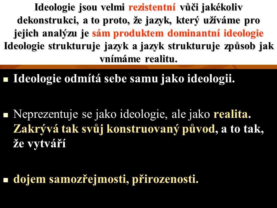 Ideologie jsou velmi rezistentní vůči jakékoliv dekonstrukci, a to proto, že jazyk, který užíváme pro jejich analýzu je sám produktem dominantní ideologie Ideologie strukturuje jazyk a jazyk strukturuje způsob jak vnímáme realitu.