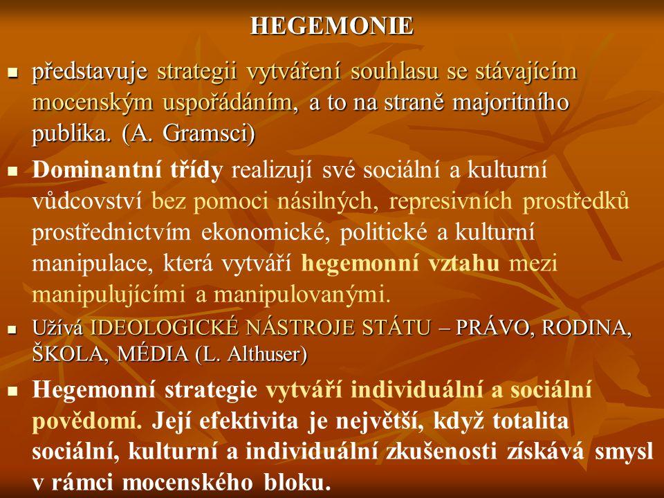 HEGEMONIE představuje strategii vytváření souhlasu se stávajícím mocenským uspořádáním, a to na straně majoritního publika.