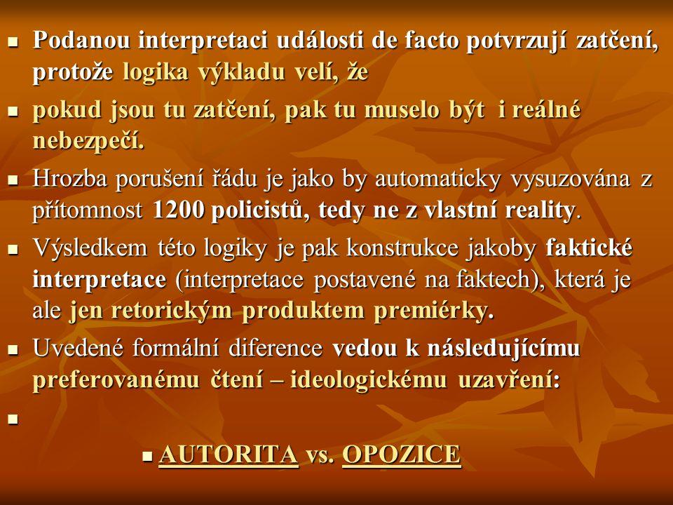 Podanou interpretaci události de facto potvrzují zatčení, protože logika výkladu velí, že Podanou interpretaci události de facto potvrzují zatčení, protože logika výkladu velí, že pokud jsou tu zatčení, pak tu muselo být i reálné nebezpečí.
