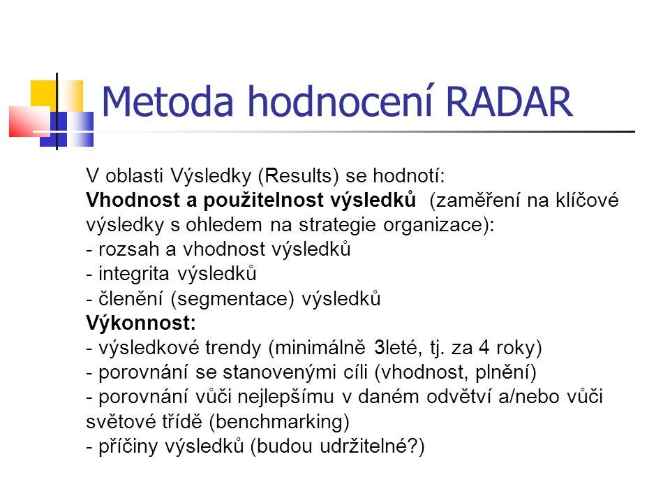 Metoda hodnocení RADAR V oblasti Výsledky (Results) se hodnotí: Vhodnost a použitelnost výsledků (zaměření na klíčové výsledky s ohledem na strategie