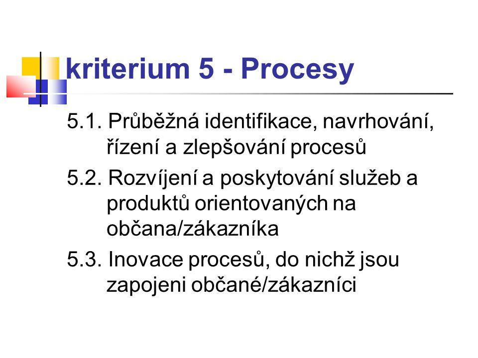 kriterium 5 - Procesy 5.1. Průběžná identifikace, navrhování, řízení a zlepšování procesů 5.2. Rozvíjení a poskytování služeb a produktů orientovaných