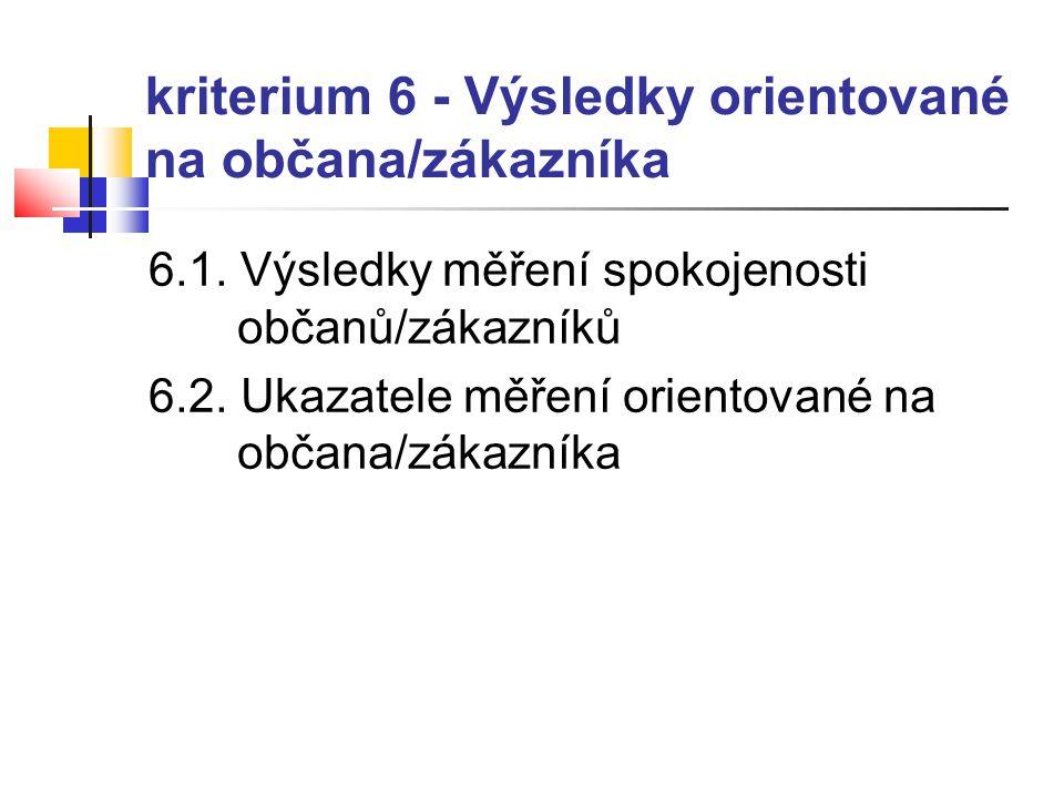 kriterium 6 - Výsledky orientované na občana/zákazníka 6.1. Výsledky měření spokojenosti občanů/zákazníků 6.2. Ukazatele měření orientované na občana/