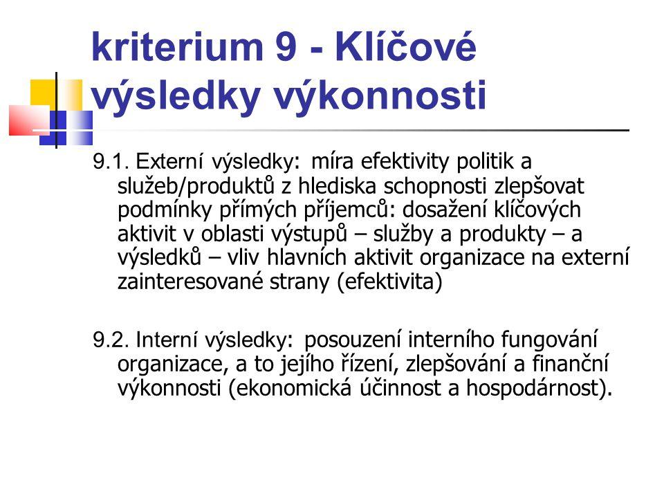 kriterium 9 - Klíčové výsledky výkonnosti 9.1. Externí výsledky : míra efektivity politik a služeb/produktů z hlediska schopnosti zlepšovat podmínky p