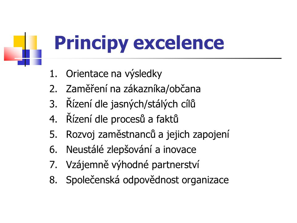 """Národní cena kvality ČR Sdružení pro oceňování kvality (1993) Program Ceny vychází z principů Evropské ceny za jakost roční cyklus, vyhlašování vítězů v listopadu – měsíci kvality držitelé Ceny mají právo se tím """"chlubit Stupně ocenění za model EFQM """"Perspektivní organizace (200 až 300 bodů) """"Úspěšná organizace (300 –400 bodů) """"Excelentní organizace (více než 400 bodů)"""